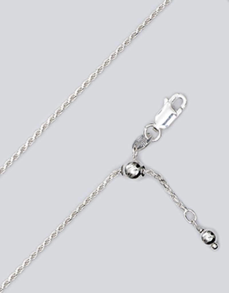"""Sterling Silver Adjustable Diamond Cut Rope 030 Chain Necklace 22"""""""