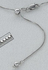 """Sterling Silver Adjustable Box 015 Chain Necklace with Rhodium Finish 22"""""""