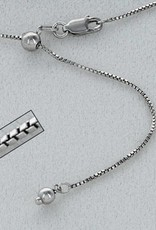 """Sterling Silver Adjustable Box 019 Chain Necklace w/ Rhodium Finish 22"""""""