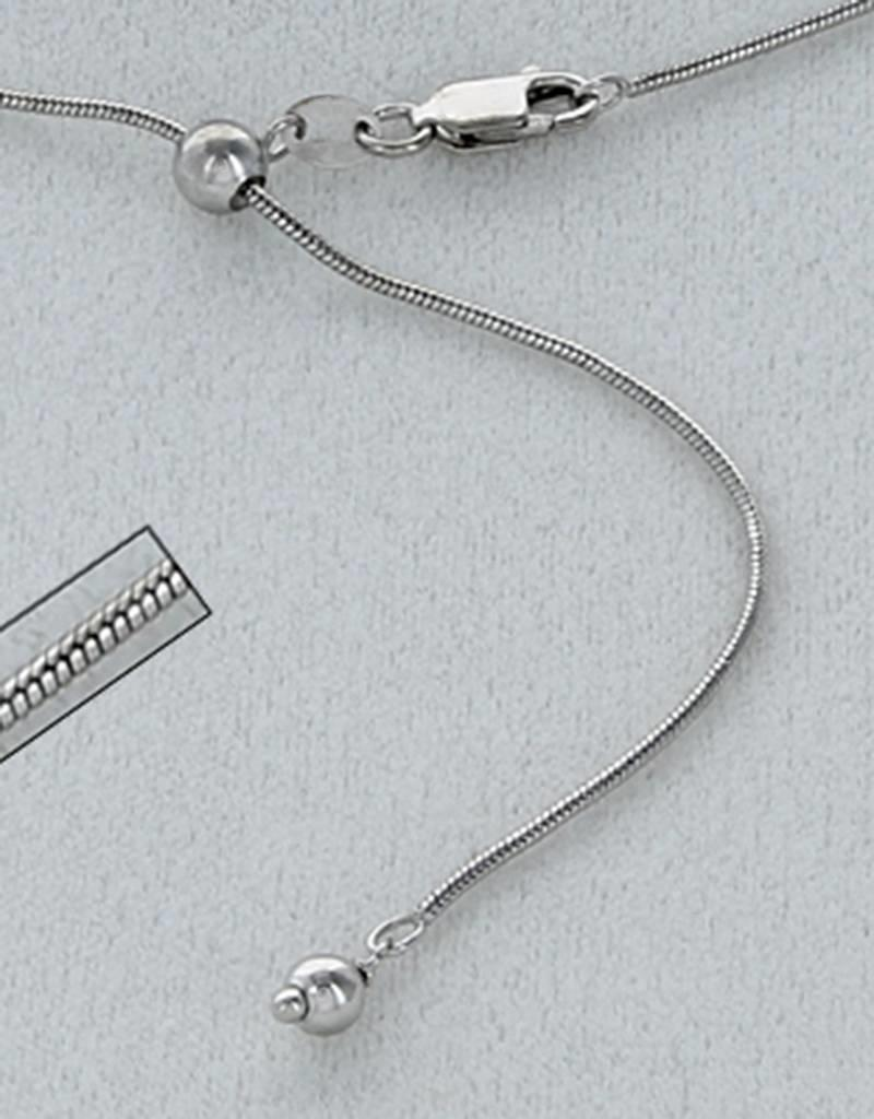 """Sterling Silver Adjustable Snake 025 Chain Necklace with Rhodium Finish 22"""""""