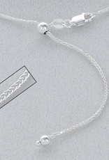 """Sterling Silver Adjustable Wheat 030 Chain Necklace 22"""""""