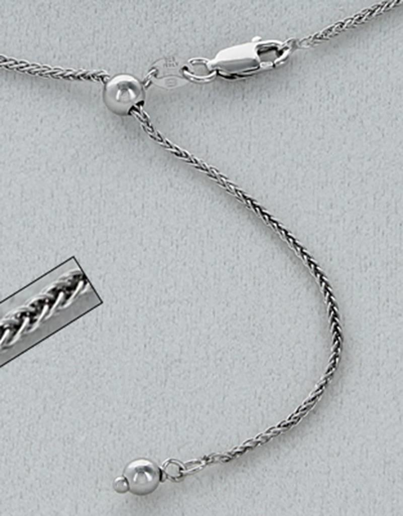 """Sterling Silver Adjustable Wheat 030 Chain Necklace with Rhodium Finish 22"""""""