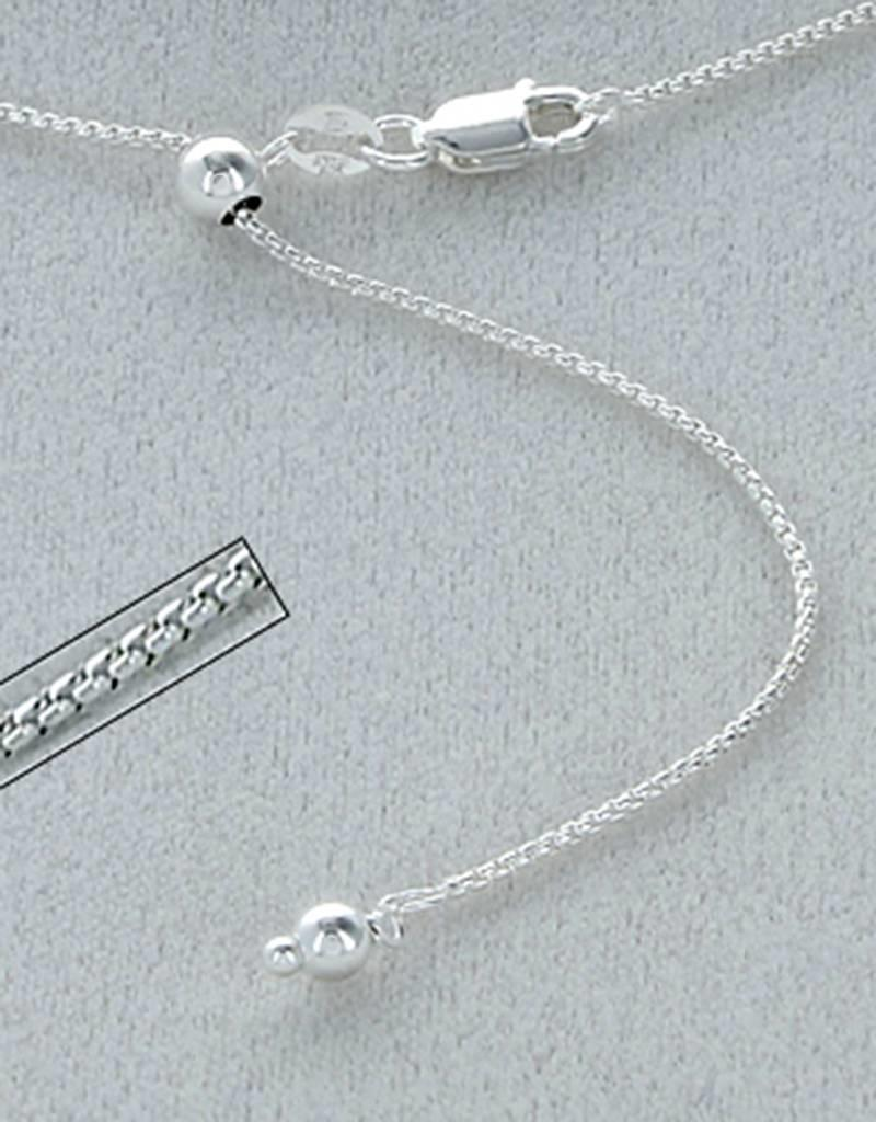 Sterling Silver Adjustable Round Box 060 Chain Necklace 22""