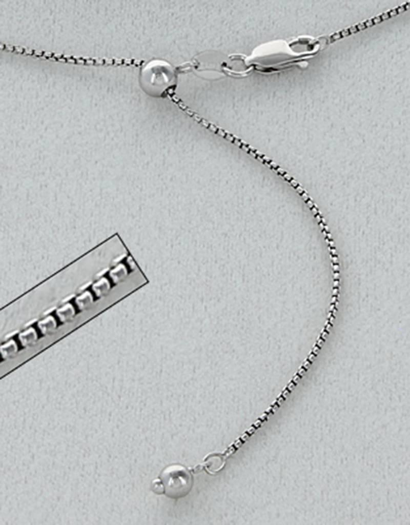 """Sterling Silver Adjustable Round Box 060 Chain Necklace with Rhodium Finish 22"""""""