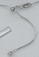 """Sterling Silver Adjustable 8-Sided Snake 025 Necklace with Rhodium Finish 22"""""""