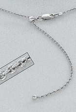 Sterling Silver Adjustable Cable 040 Chain Necklace with Rhodium Finish 22""