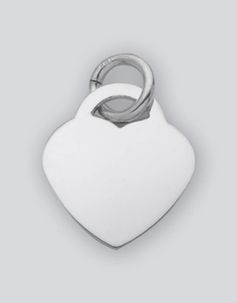 Sterling Silver Heart ID Tag Charm 22mm