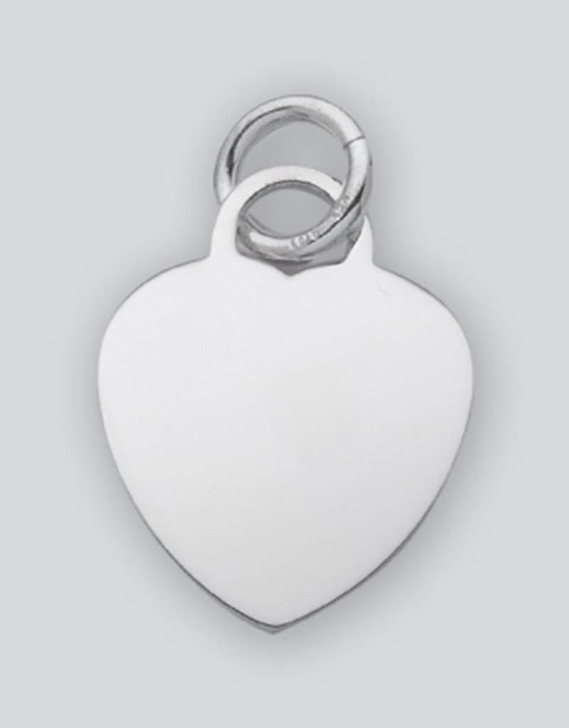 Sterling Silver Heart ID Tag Charm 27mm