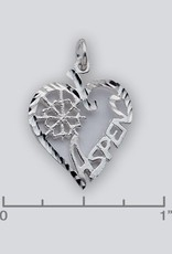 Sterling Silver Heart Aspen Charm 20mm