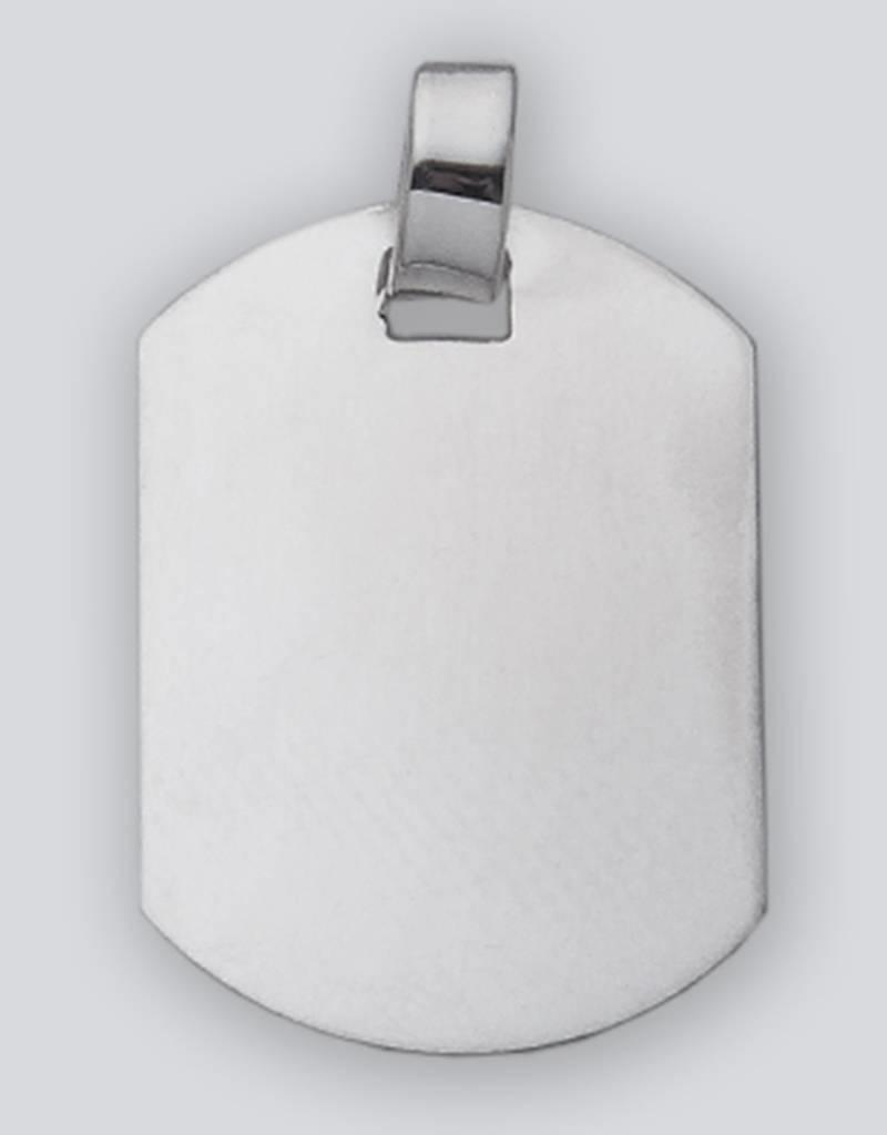 Sterling Silver Rectangle ID Tag Pendant 32mm