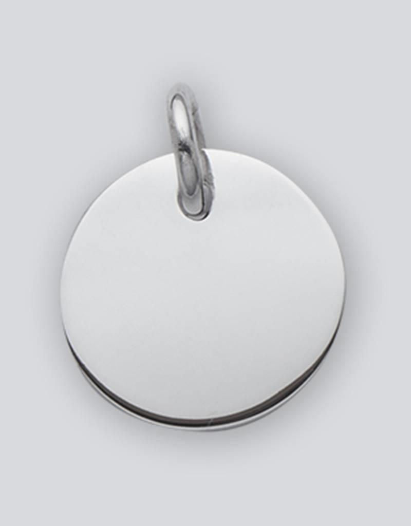 Sterling Silver Round ID Tag 20mm Pendant