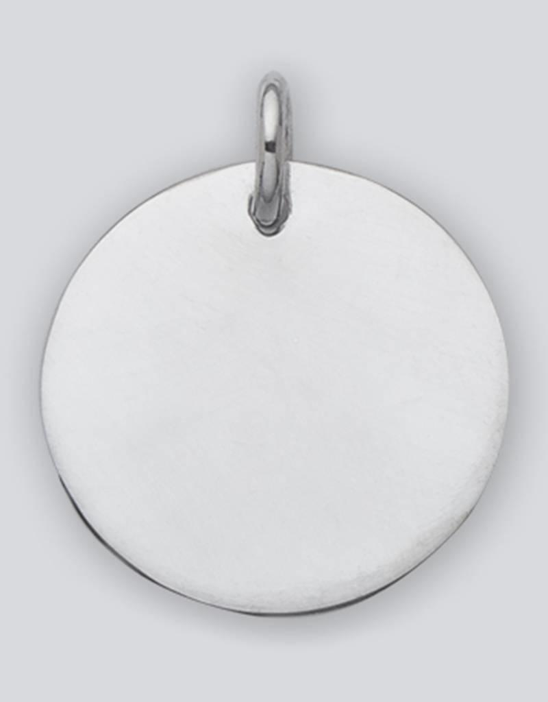 Sterling Silver Round ID Tag Pendant 29mm