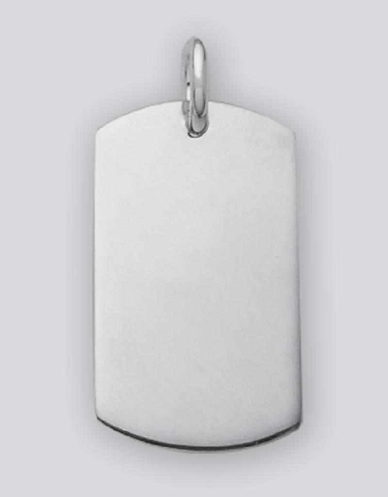 Sterling Silver Rectangle ID Tag Pendant 27mm