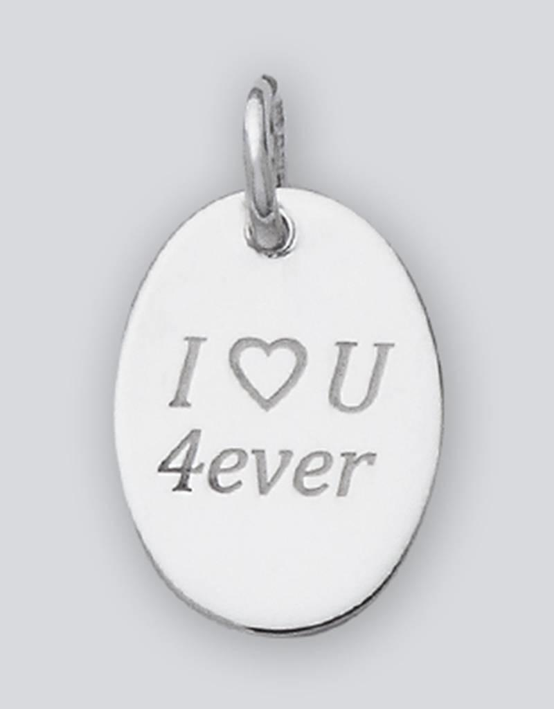 "Sterling Silver Oval ""I Love U 4ever"" Charm 18mm"