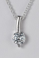 Sterling Silver 6mm Round Cubic Zirconia Slide Pendant 15mm (Chain Sold Separately)