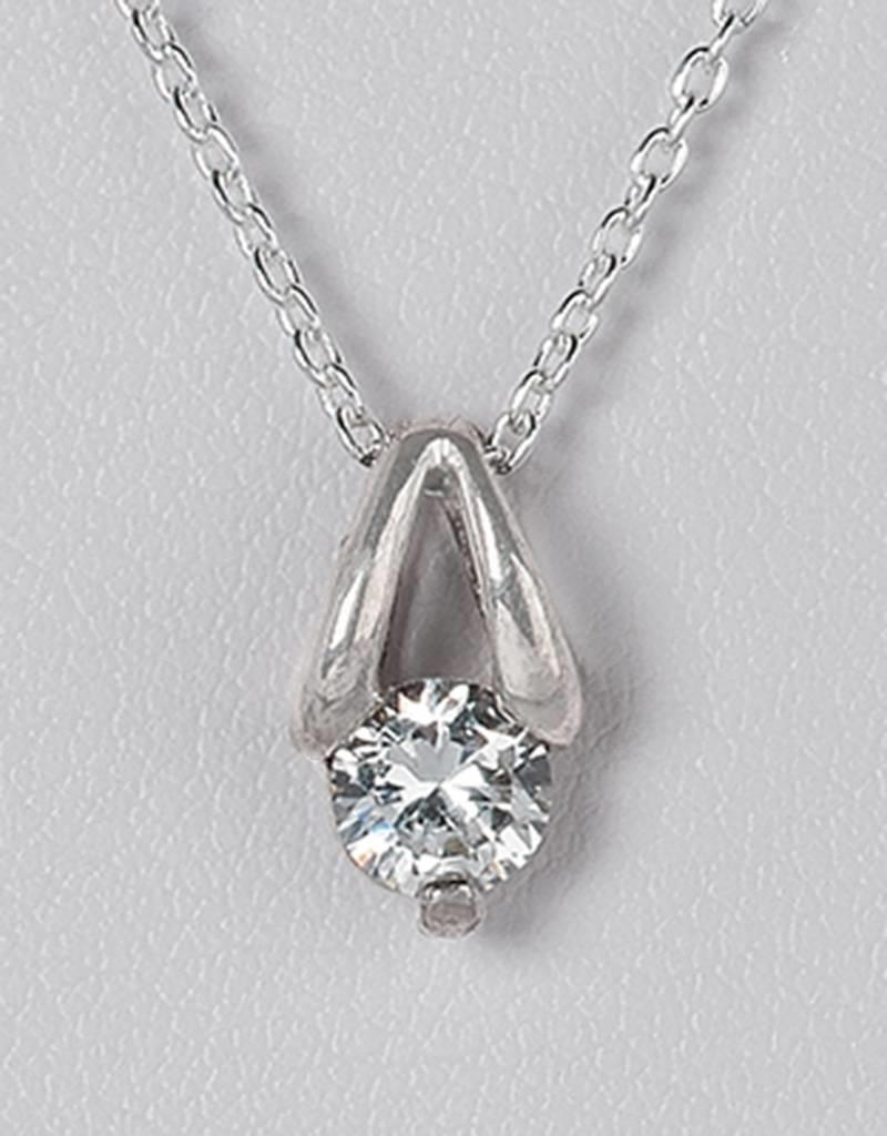 Sterling Silver Round CZ Slide Pendant 5mm (Chain Sold Separately)