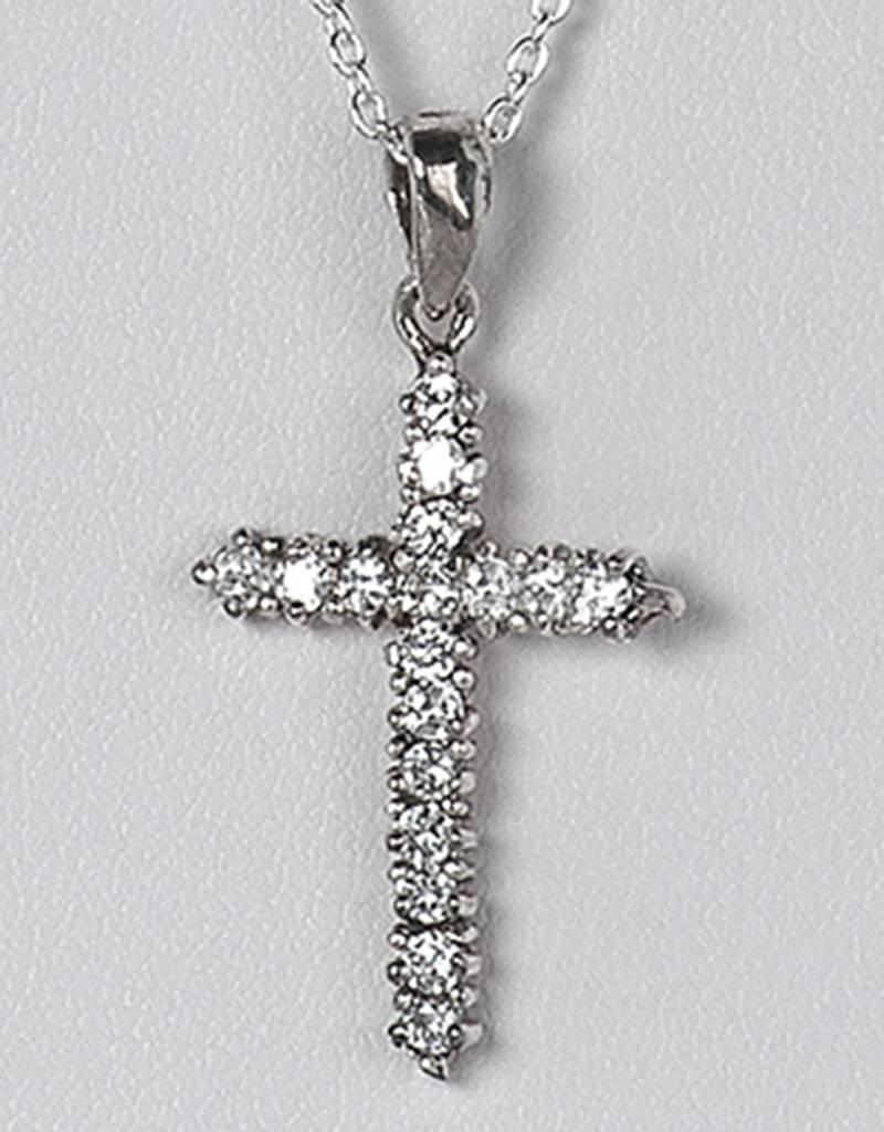 Sterling Silver Cross Cubic Zirconia Pendant 24mm (Chain Sold Separately)