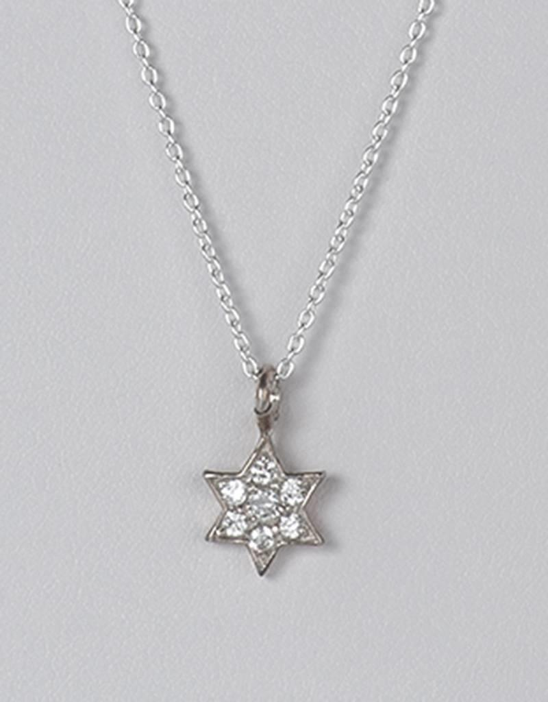 Sterling Silver Star of David CZ Pendant 10mm (Chain Sold Separately)