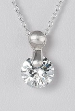 Sterling Silver Round CZ Slide Pendant 8mm (Chain Sold Separately)