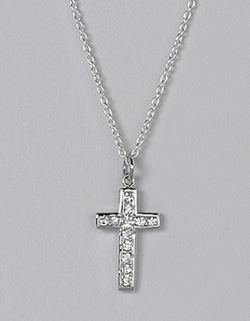 Sterling Silver Cross with Channel Set Cubic Zirconia Pendant 18mm (Chain Sold Separately)
