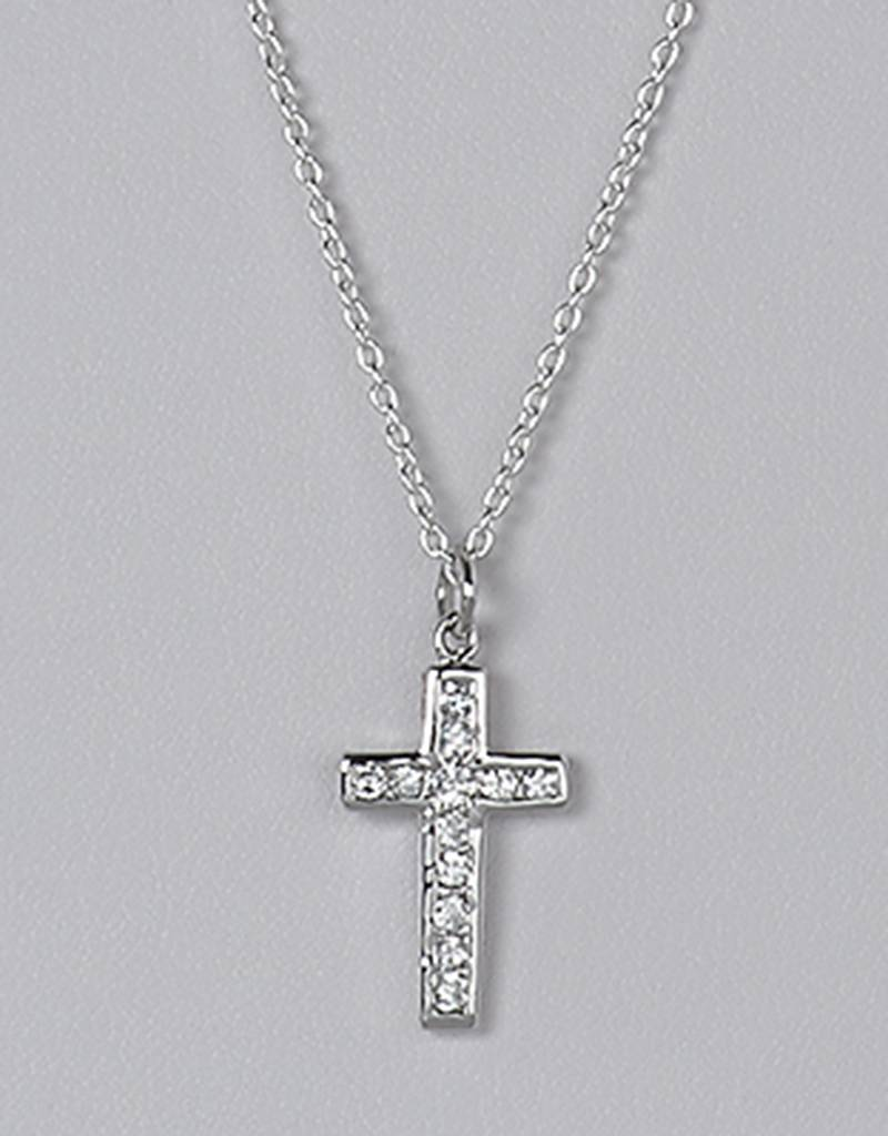 Cross Channel CZ Pendant 18mm