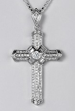 Sterling Silver Cross w/ Cubic Zirconia Pendant 57mm (Chain Sold Separately)