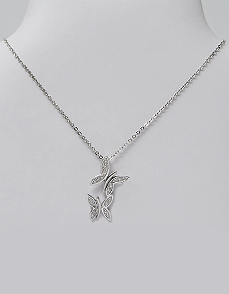 """Sterling Silver Butterflies with Cubic Zirconia Necklace 16""""+2"""" Extender"""