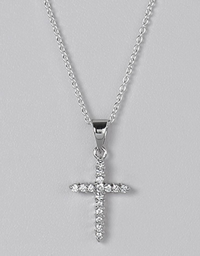 Sterling Silver Cubic Zirconia Cross Pendant (Chain Sold Separately)