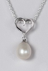 Sterling Silver Heart with Pearl Pendant (Chain Sold Separately)