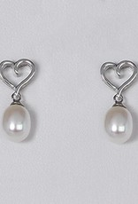Sterling Silver Heart with Pearl Post Earrings