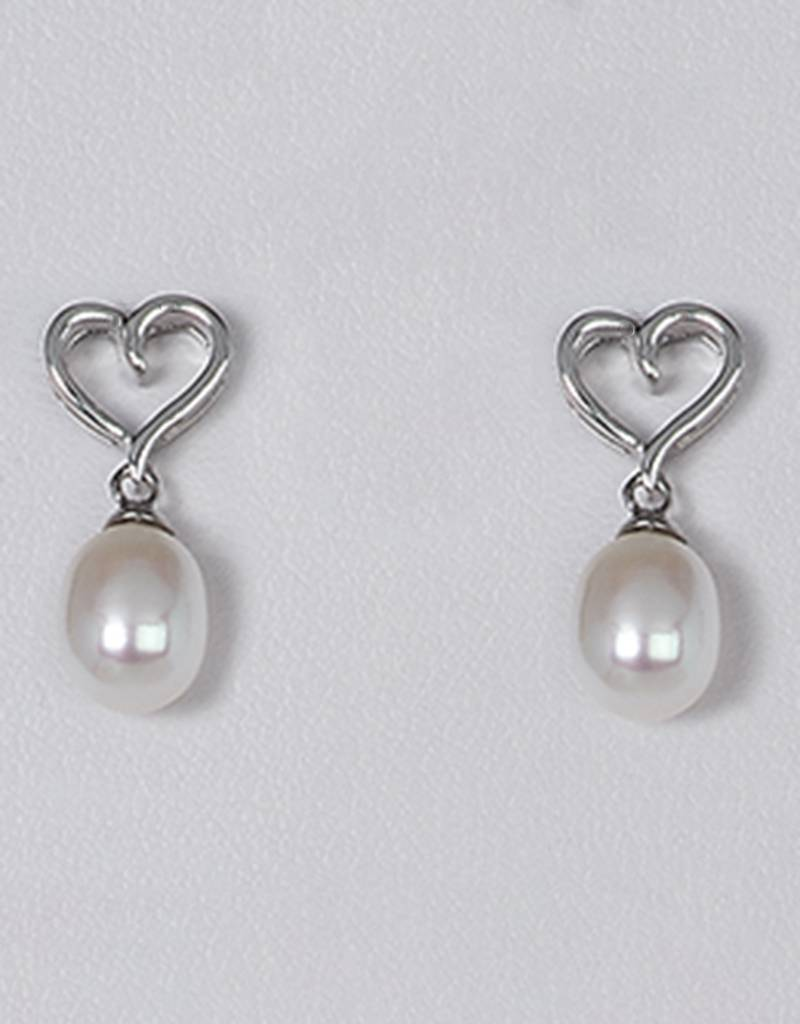 Heart Pearl Post Earrings
