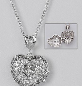 "CZ Heart Locket Necklace 16""+2"""