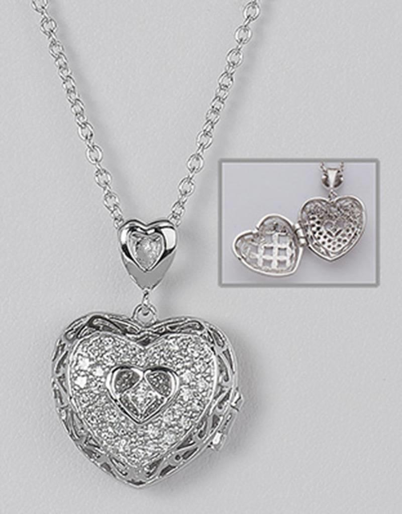 "Sterling Silver Heart Locket with Cubic Zirconia Necklace 16""+2"" Extender"