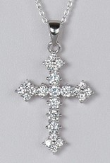 Sterling Silver Cross Cubic Zirconia Pendant 28mm (Chain Sold Separately)