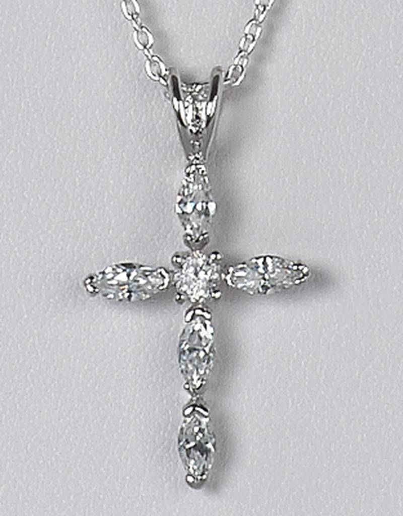 Sterling Silver Cross Cubic Zirconia Pendant 27mm (Chain Sold Separately)