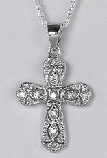 Sterling Silver Cross Cubic Zirconia Filigree Pendant 24mm (Chain Sold Separately)
