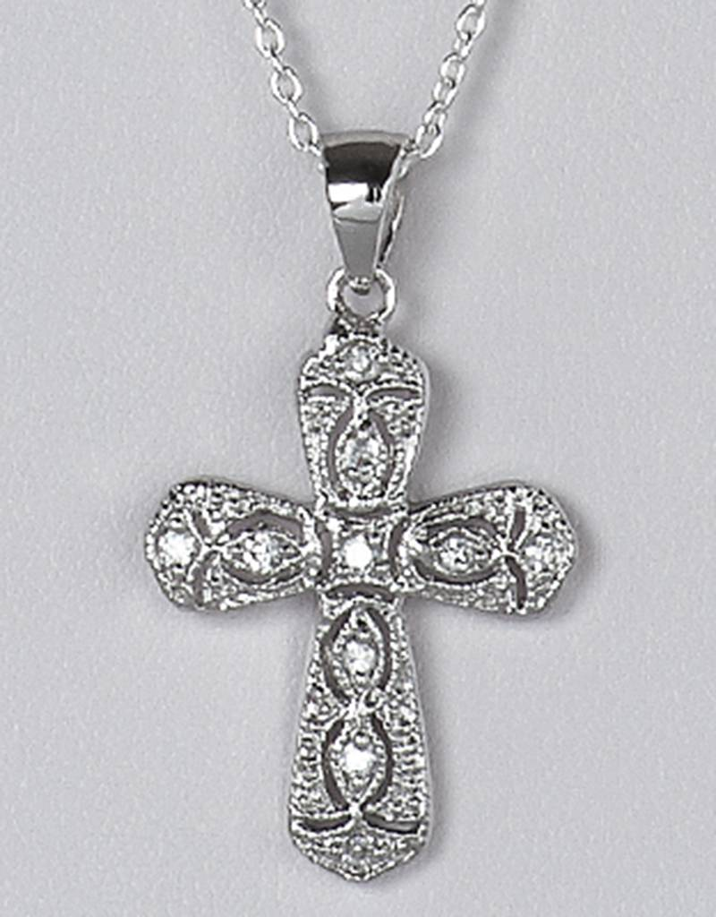 Cross CZ Filigree Pendant 24mm