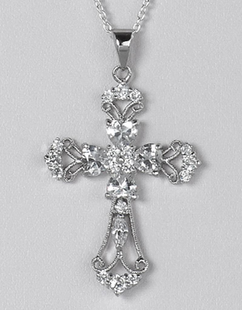 Sterling Silver Cross CZ Pendant 36mm (Chain Sold Separately)