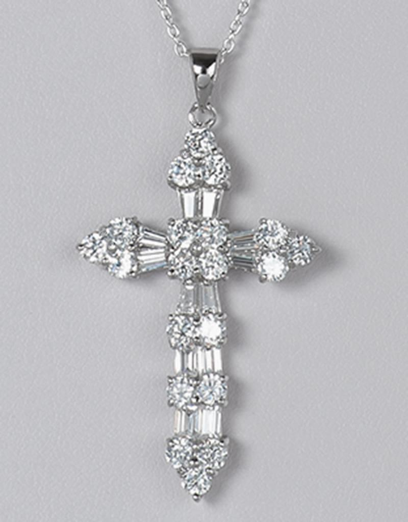 Sterling Silver Baguette and Round Cubic Zirconia Cross Pendant 41mm (Chain Sold Separately)