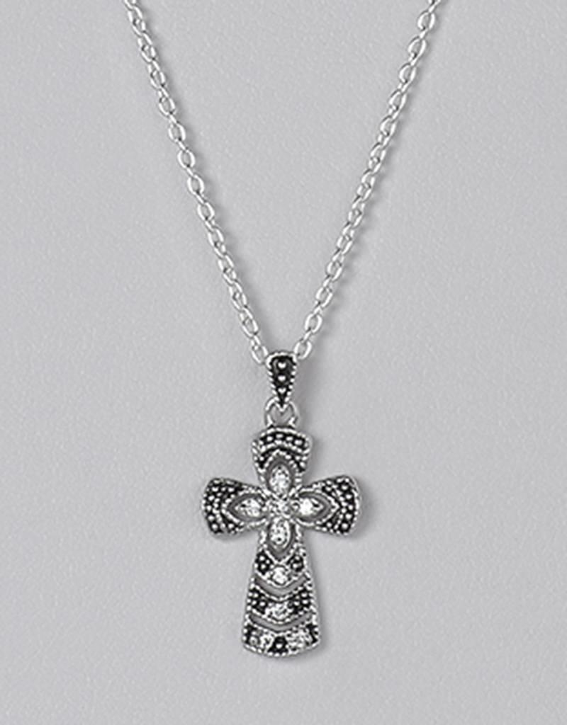 """Sterling Silver Cross Cubic Zirconia Necklace 16""""+2"""" Extender"""