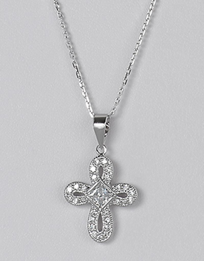 """Sterling Silver Cubic Zirconia Cross Necklace 16""""+2"""" Extender"""