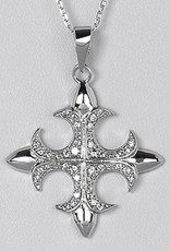 """Sterling Silver CZ Cross Necklace 16""""+2"""" Extender"""
