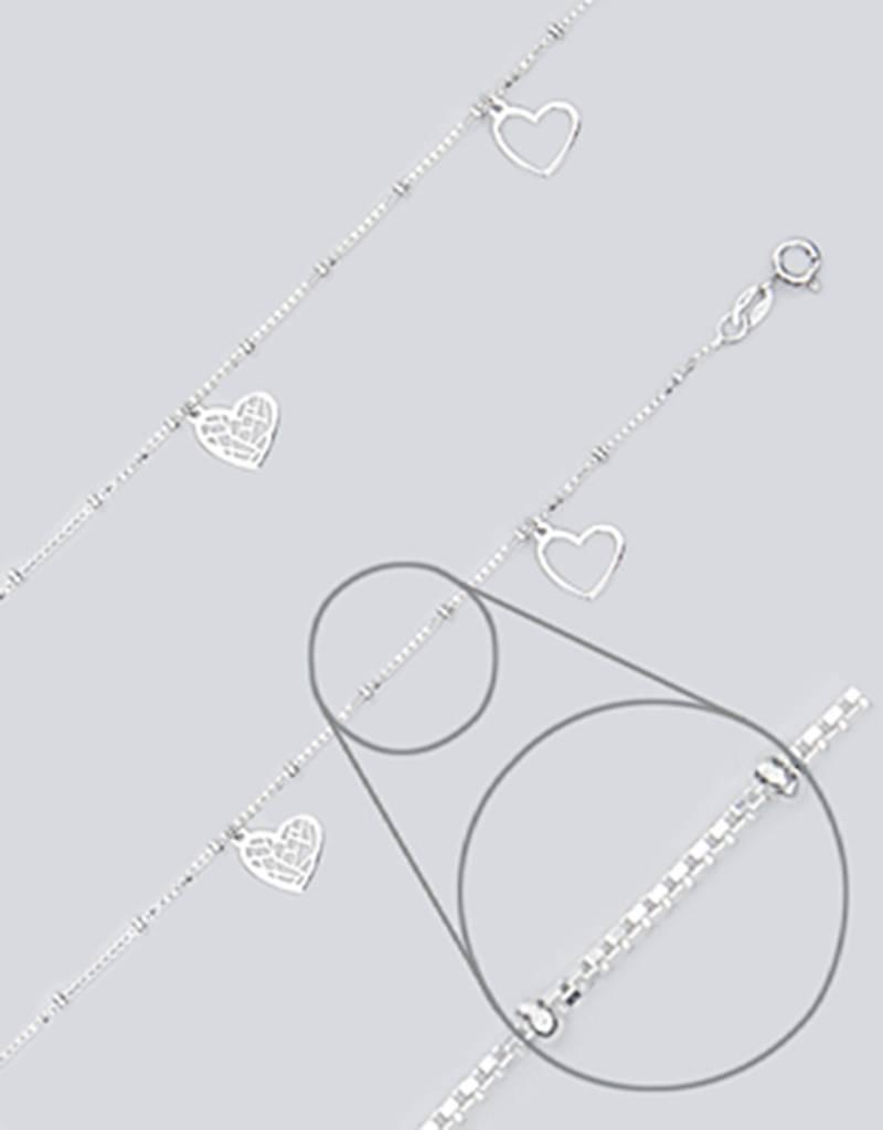 "Heart Charm Anklet 9""+1"""