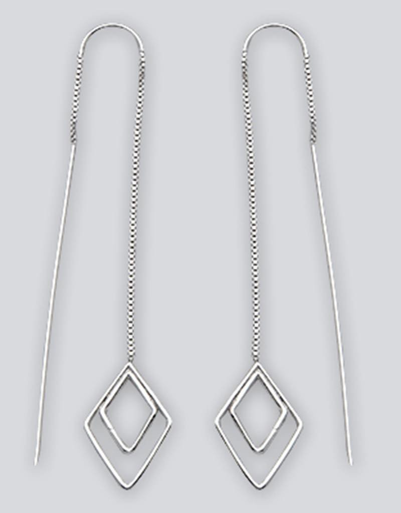 Sterling Silver Diamond Shaped Threader Earrings