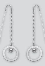 Sterling Silver Circle with Bead Threader Earrings