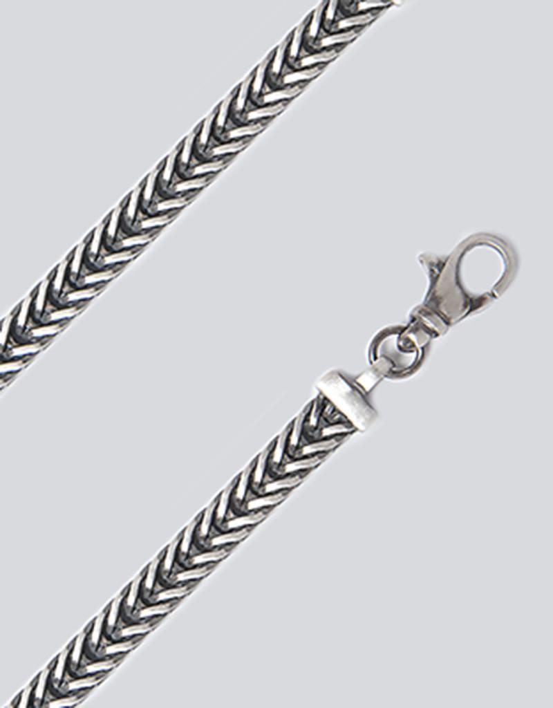 Sterling Silver Oxidized Franco Link Chain Bracelet