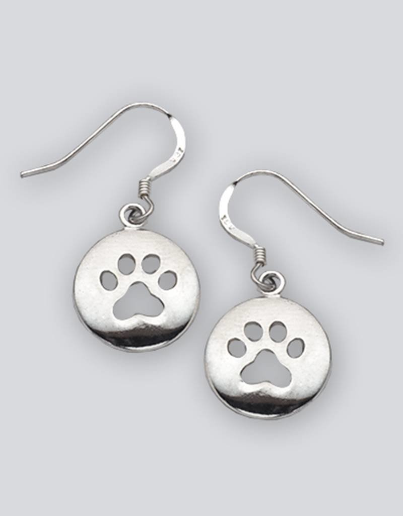 Sterling Silver Paw Print Earrings 15mm