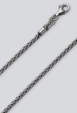 Sterling Silver 2.15mm Oxidized Wheat Chain Necklace
