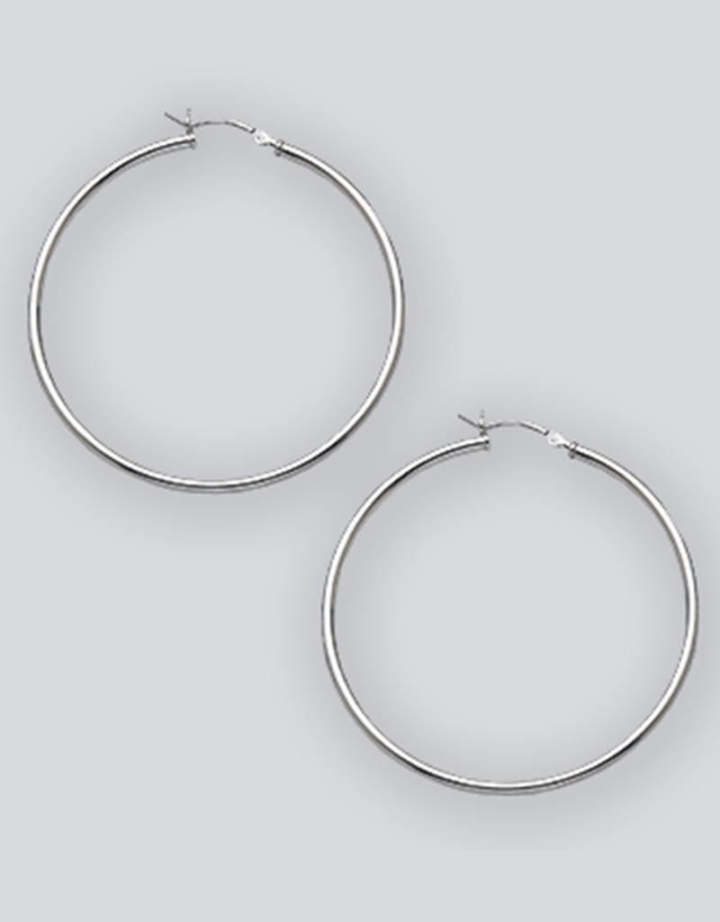 Sterling Silver Round Plain Hoop Earrings 50mm