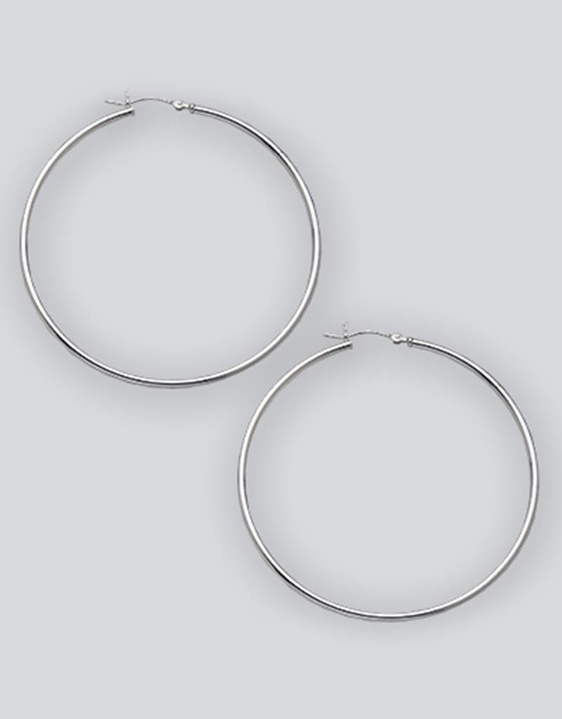 Sterling Silver Round Plain Hoop Earrings 60mm